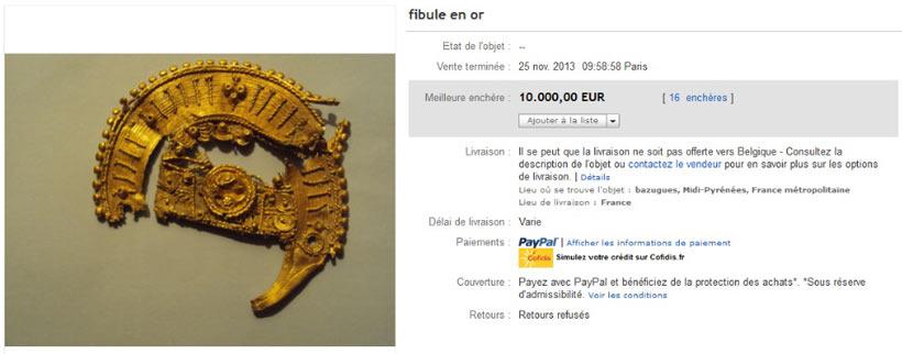 Fibule en or vendue sur ebay